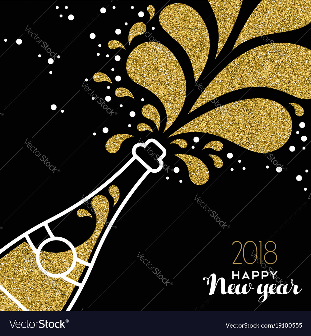 Happy new year 2018 gold glitter bottle splash