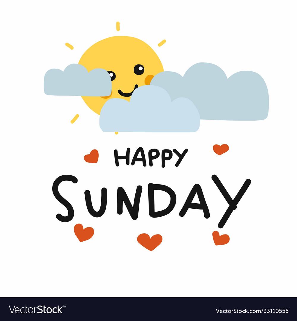 Happy sunday cute sun smile and cloud cartoon