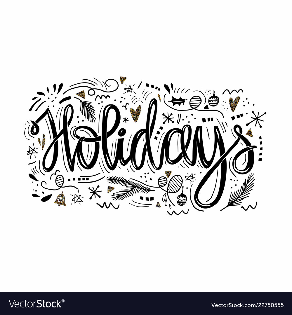 Holidays hand drawn phrase greeting card ink