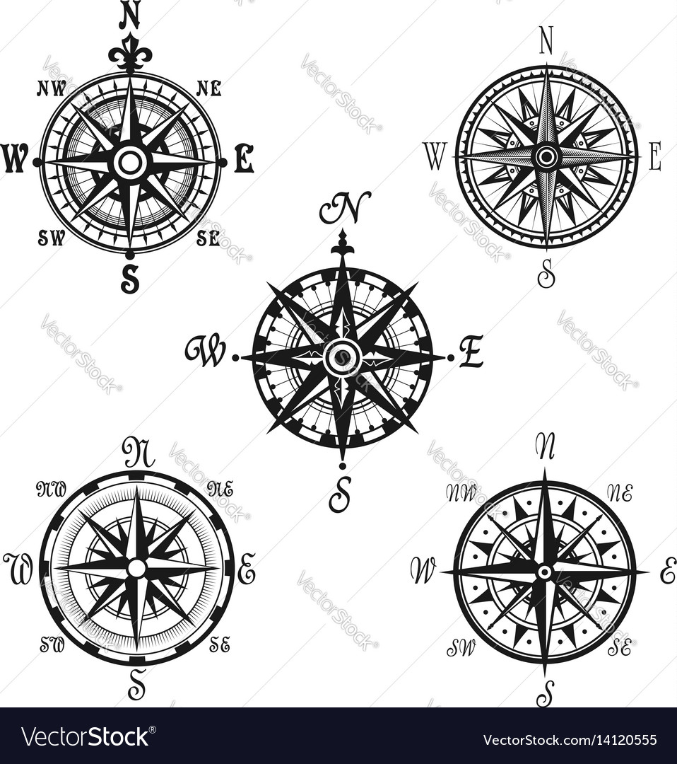 Marine or nautical compass navigation icons vector image