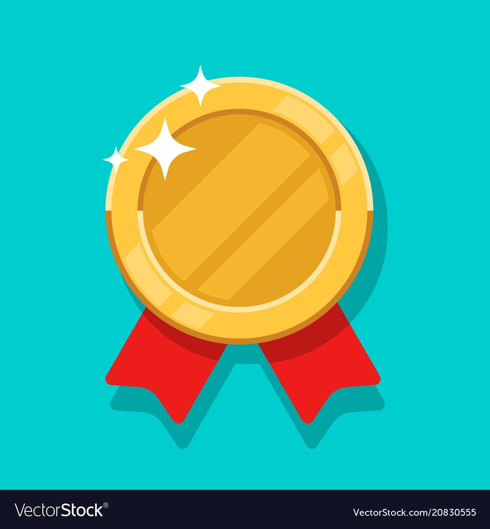 Medal gold icon flat cartoon medallion vector image