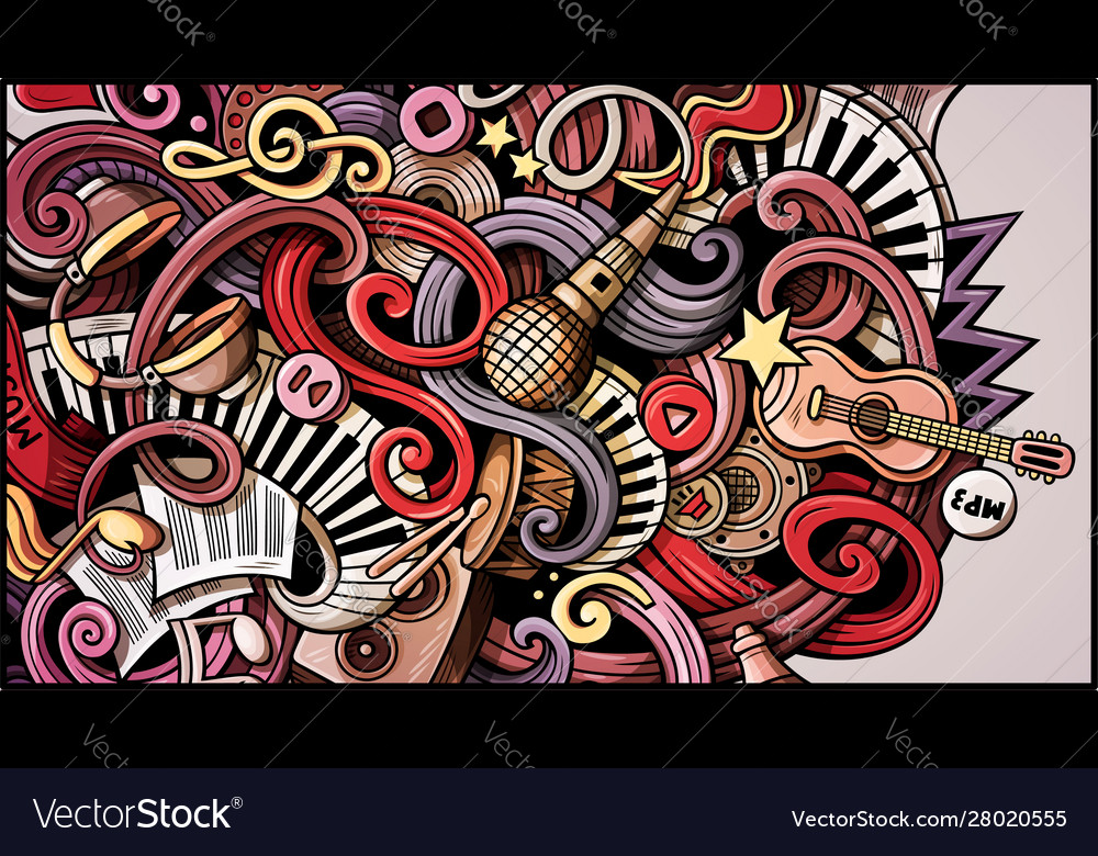 Music Hand Drawn Doodle Banner Cartoon Detailed