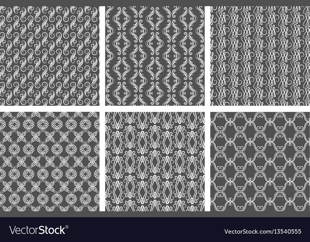 Ornamental white floral pattern set on gray