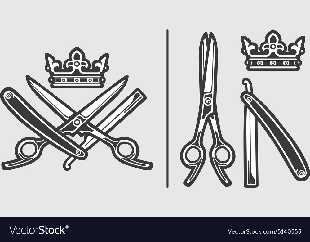 scissors razor crown logo emblem royalty free vector image rh vectorstock com Open Scissors Open Scissors