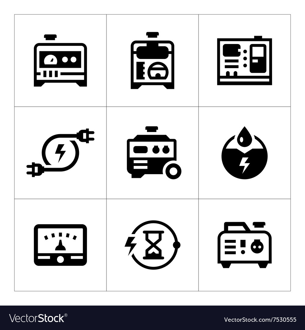 Set icons of electrical generator Royalty Free Vector Image