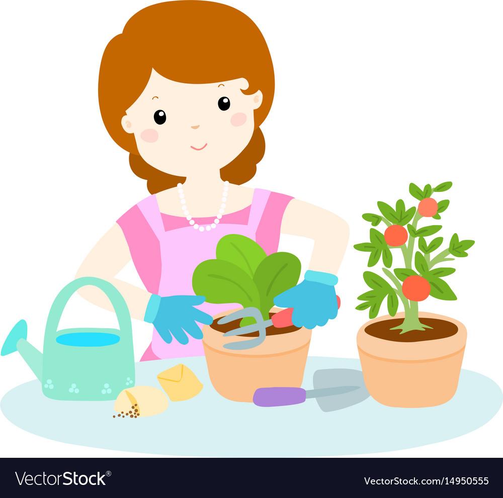 Woman planting healthy organic vegetable cartoon