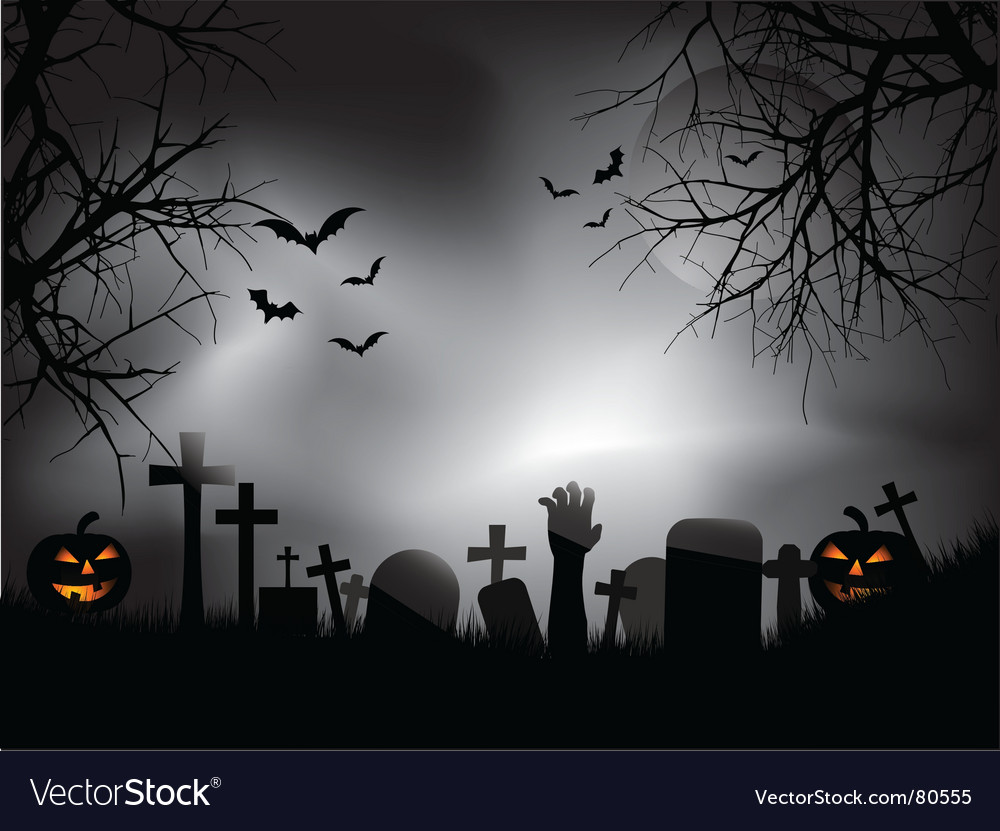 Zombie hand in graveyard vector image