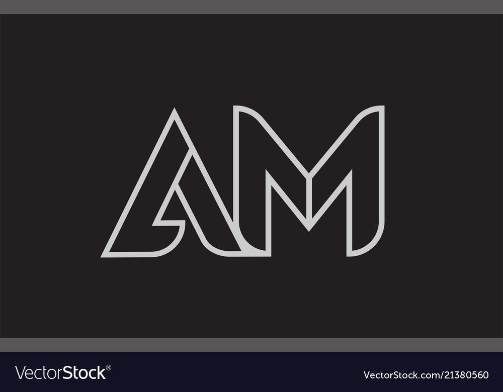 black and white alphabet letter am a m logo vector image