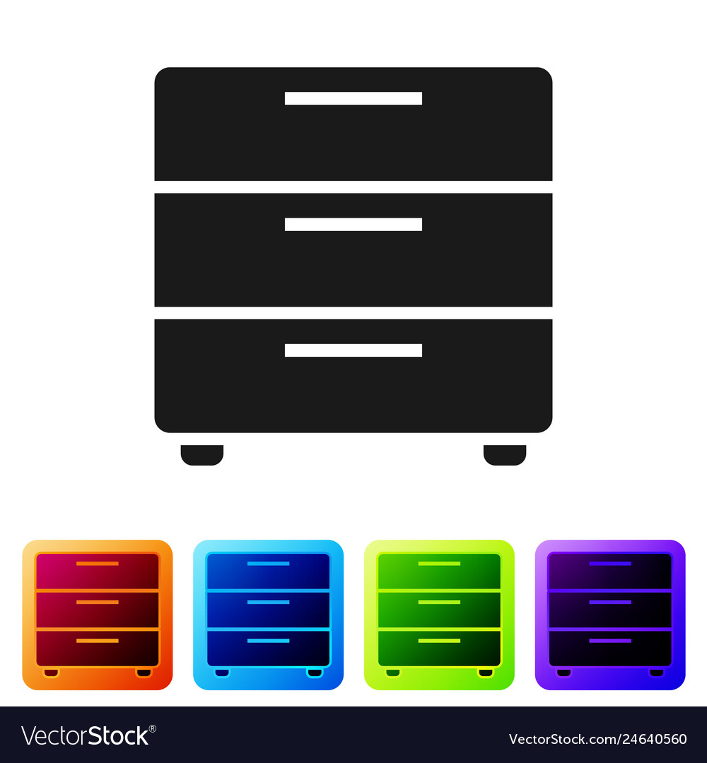 Black furniture nightstand icon isolated on white