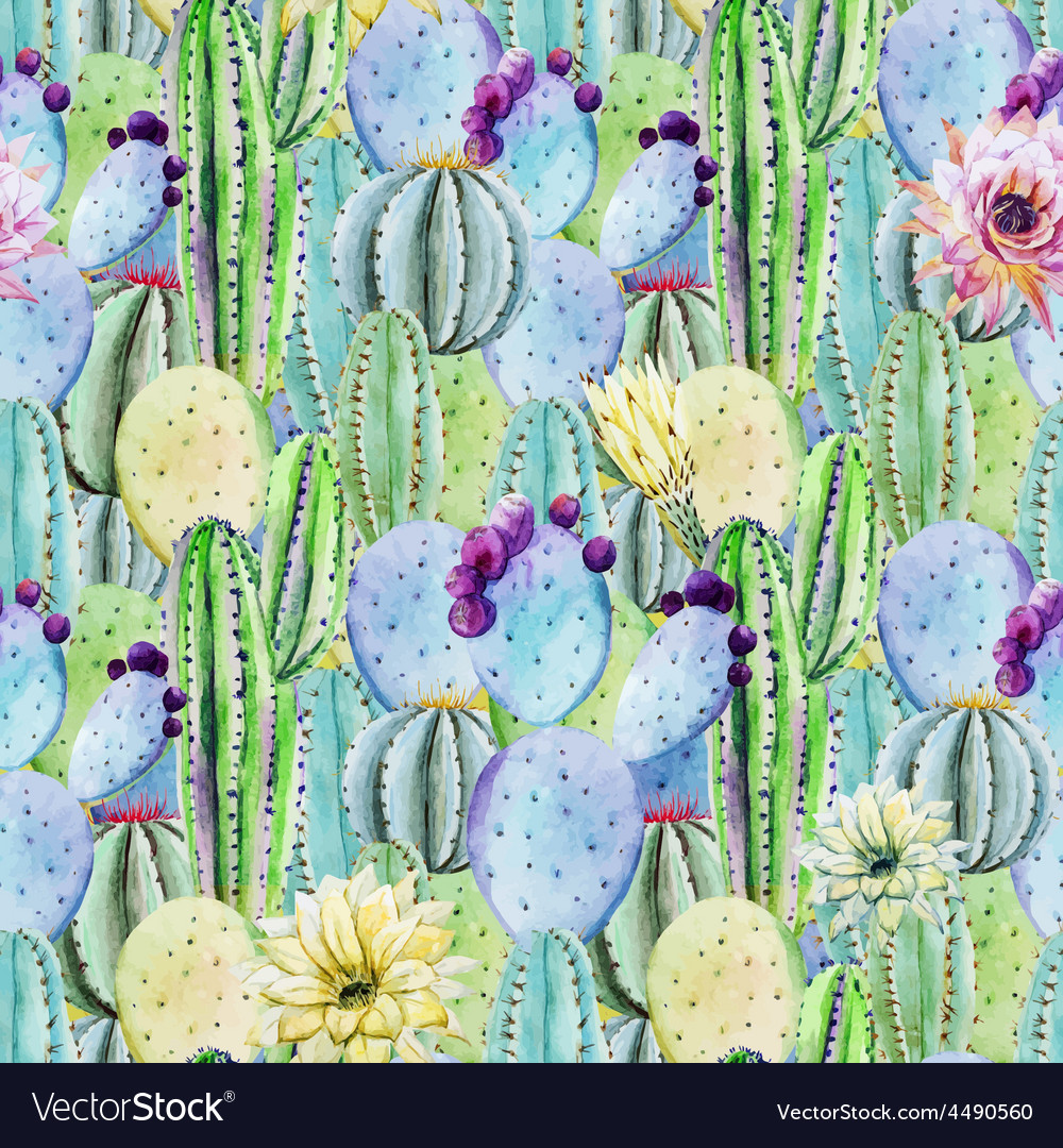 Cactus seamless patterns vector image