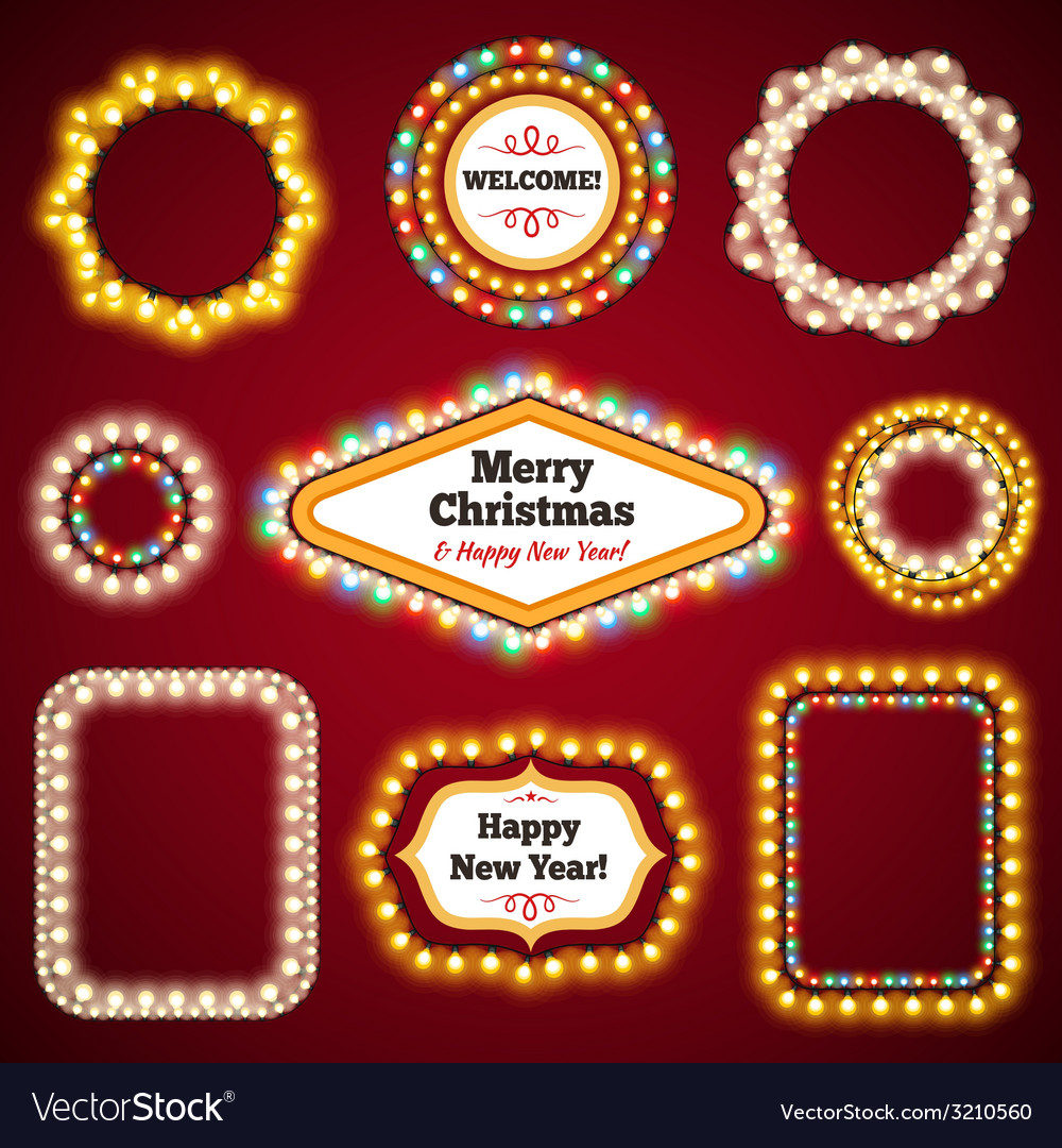 Christmas Lights Frames with a Copy Space Set3