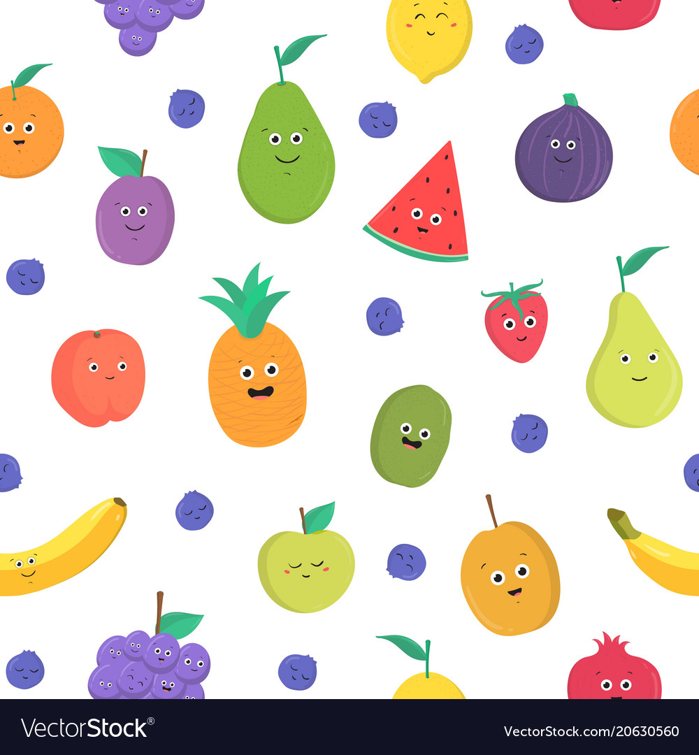 Colorful seamless pattern with funny ripe fresh