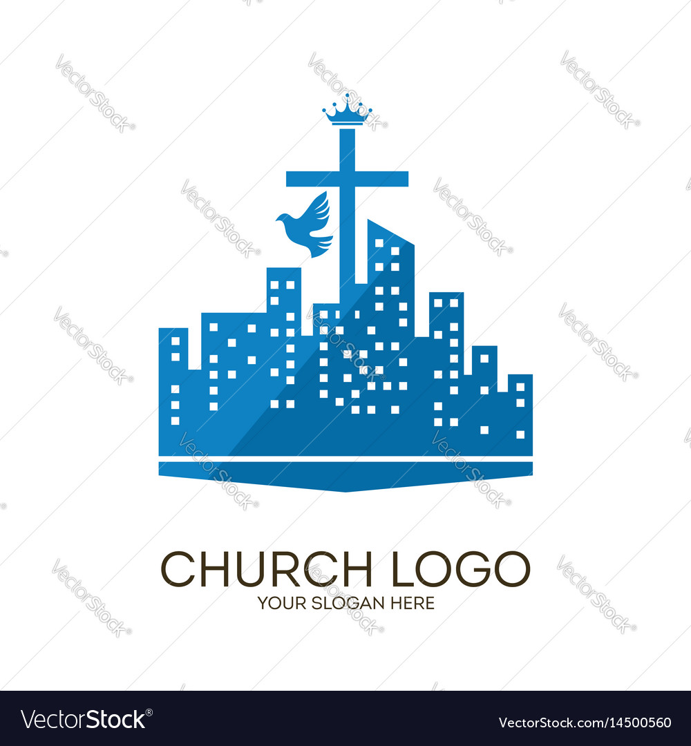 Cross city and dove vector image