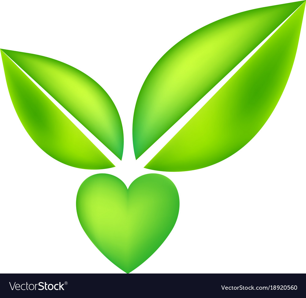 Green icon with heart shape and two leaves