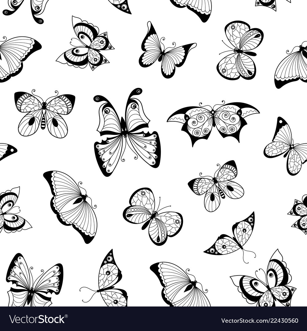 Hand drawn insects pattern or background