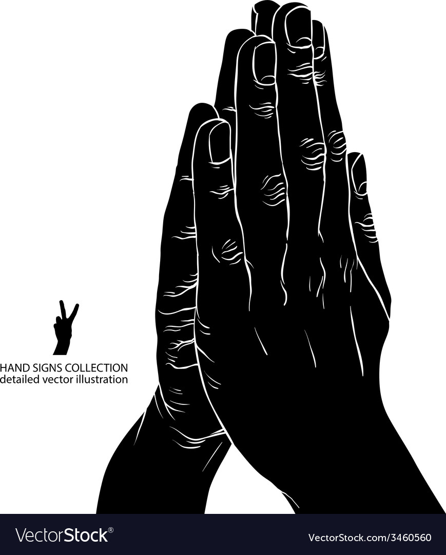 Praying hands detailed black and white