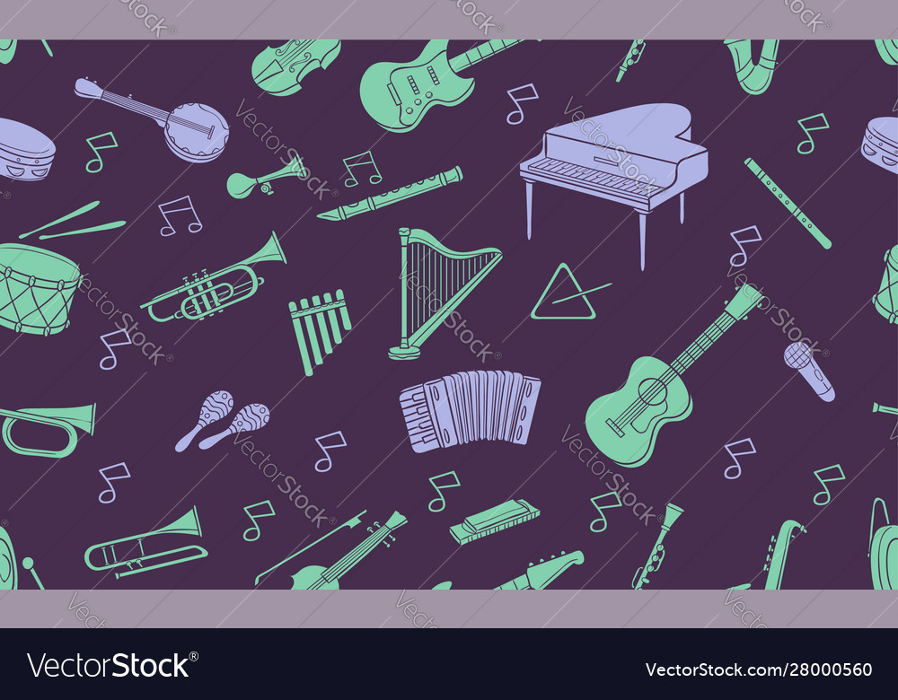 Seamless pattern doodle musical instrument