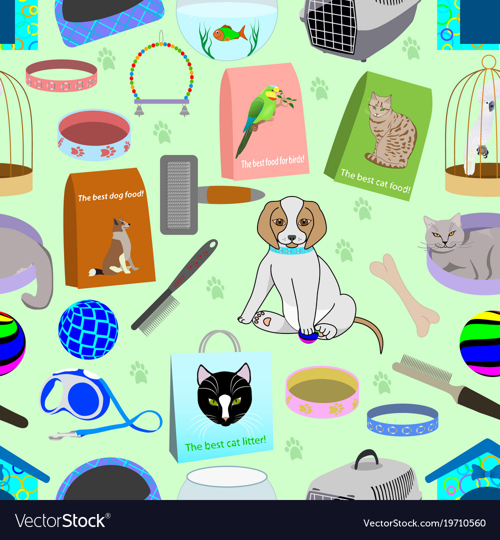 Seamless pattern for a pet shop