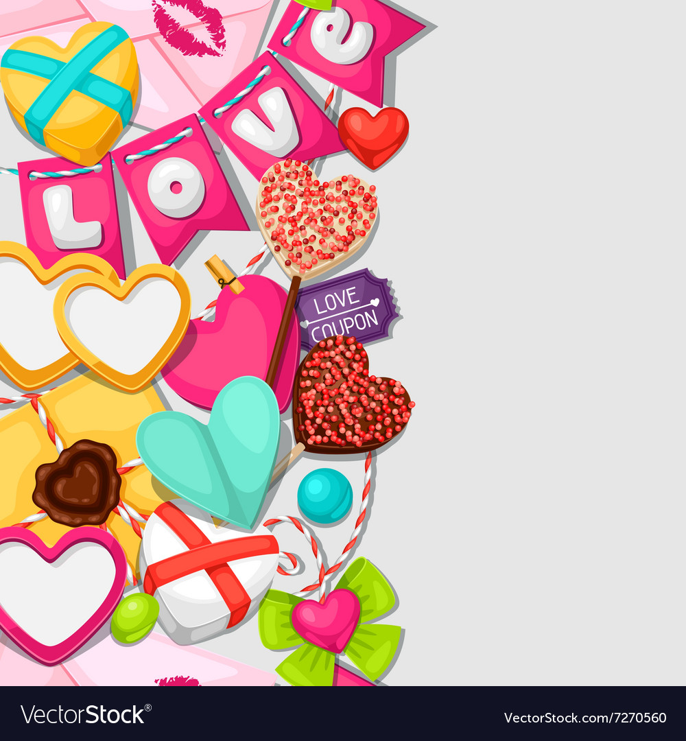 Seamless pattern with hearts objects decorations