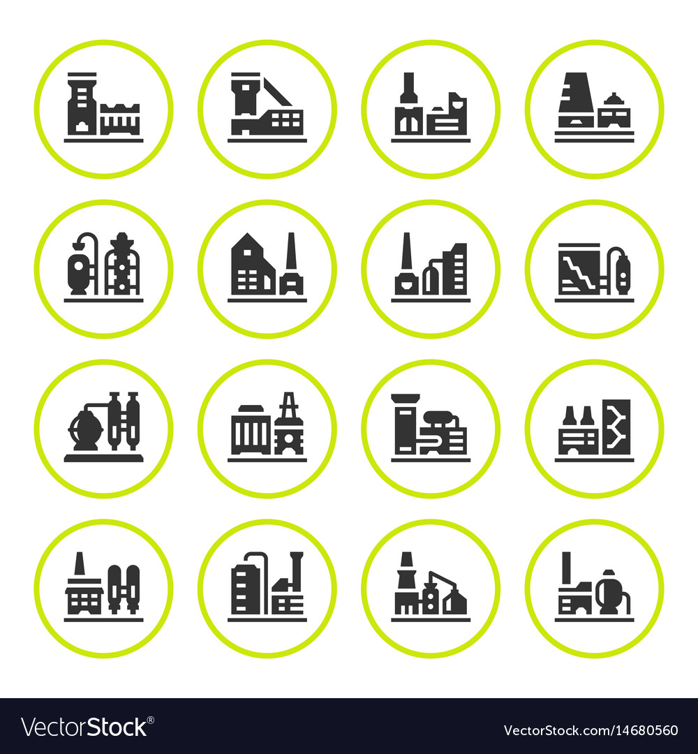 Set round icons of factory vector image