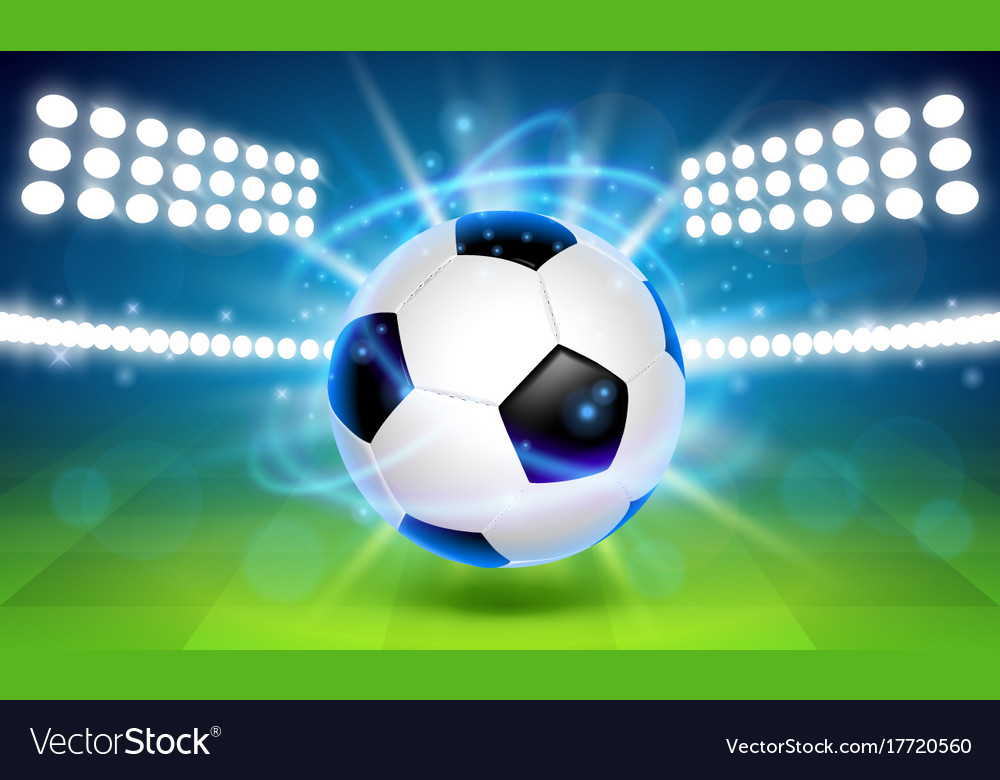 Soccer ball on the field cover background