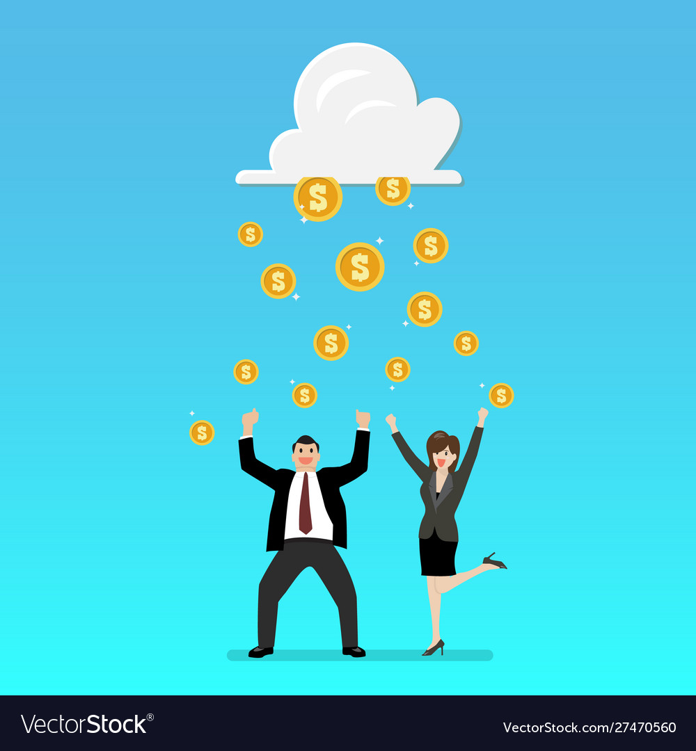 Success businessman with cloud and money rain