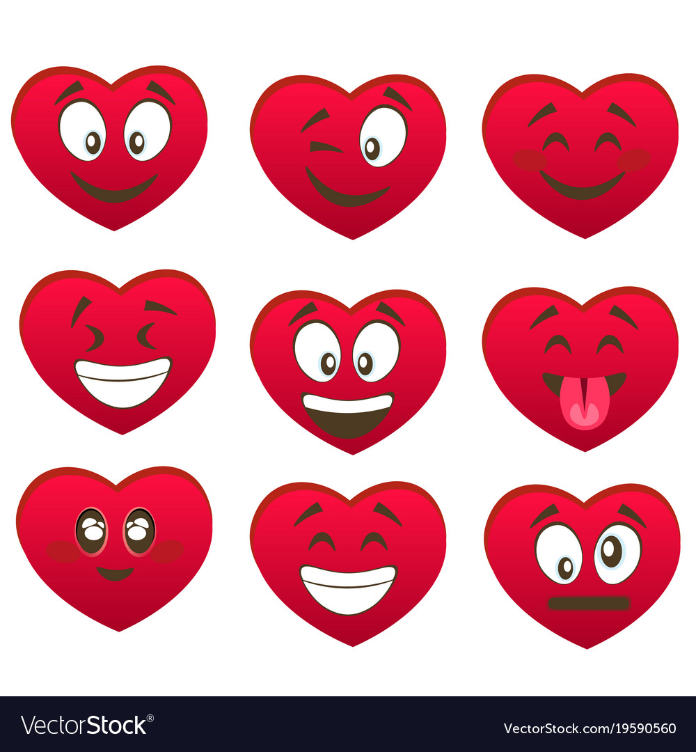 Valentine s set of heart smiles