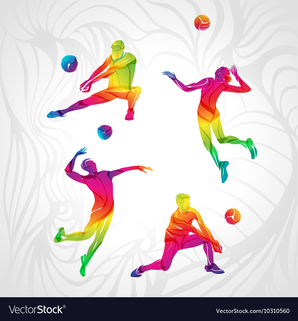 Volleyball silhouettes rainbow collection