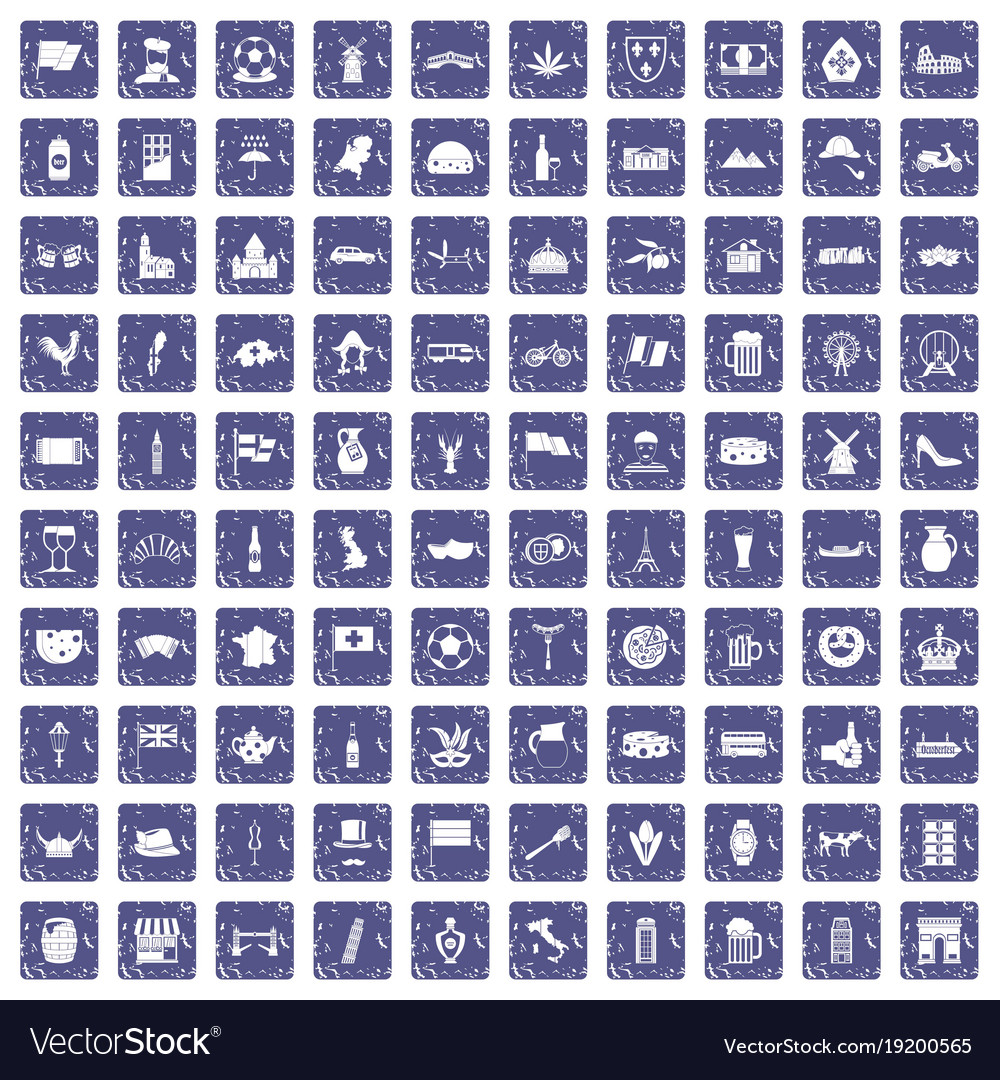 100 europe countries icons set grunge sapphire