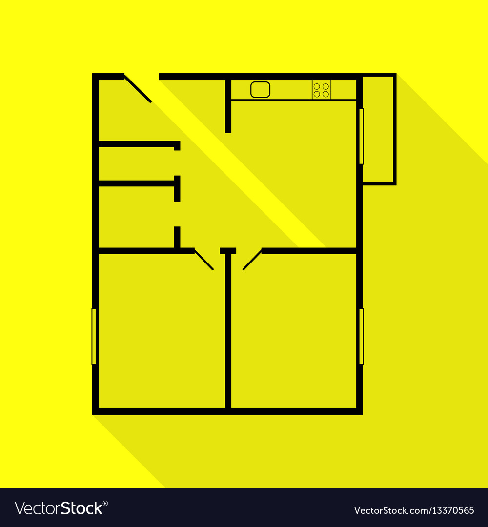 . Apartment house floor plans black icon with flat