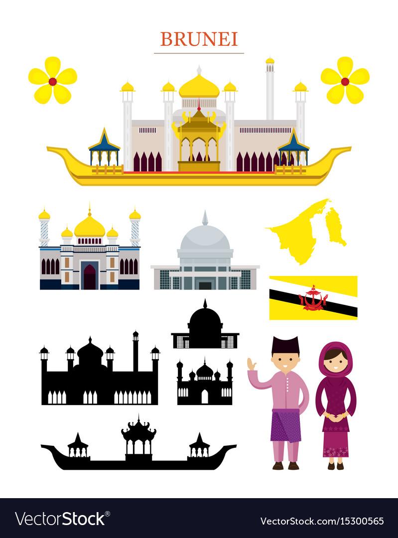 Brunei landmarks architecture building object set