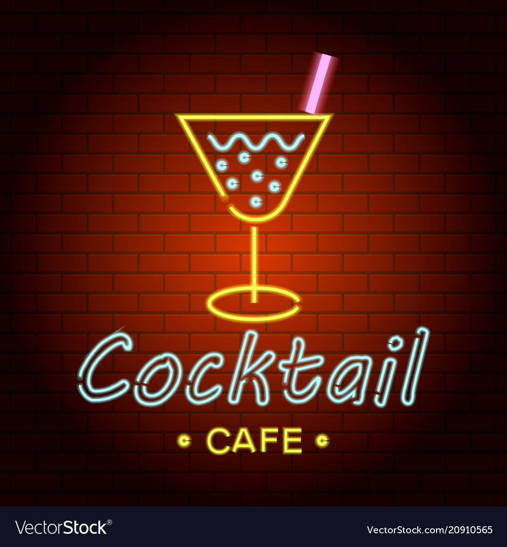 Cocktail cafe logo neon light icon realistic