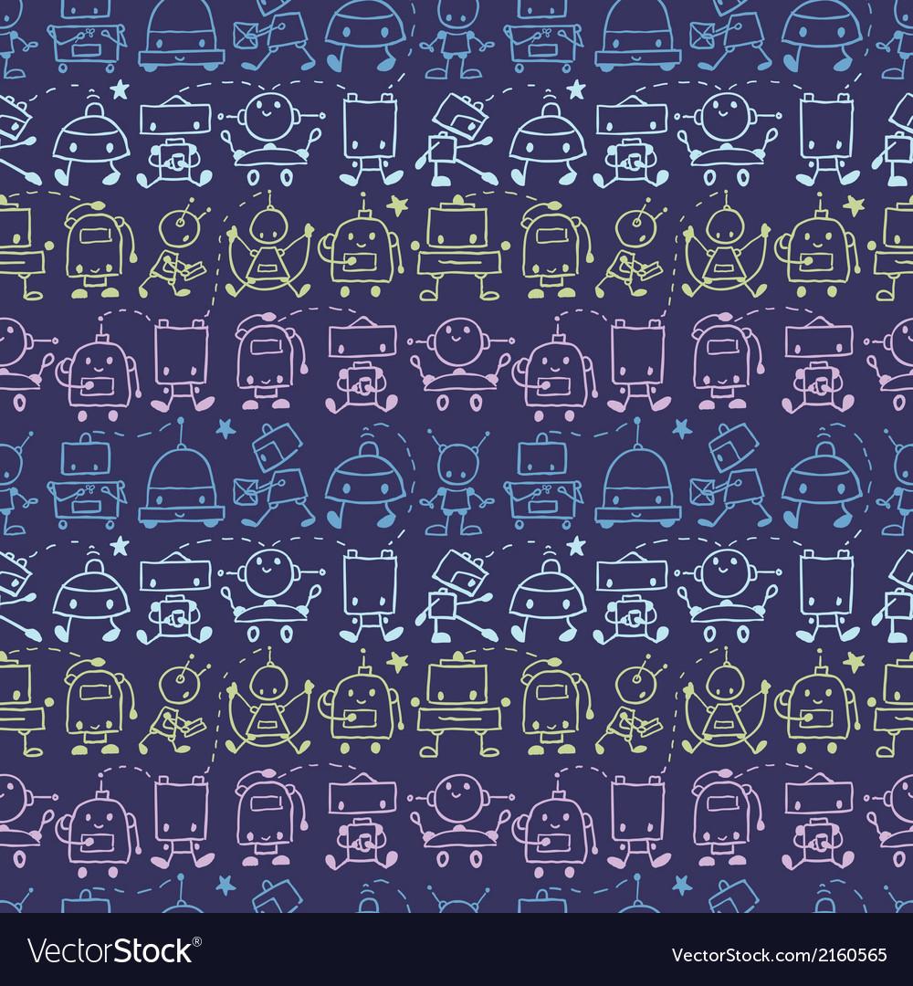 Doodle robots stripes seamless pattern background
