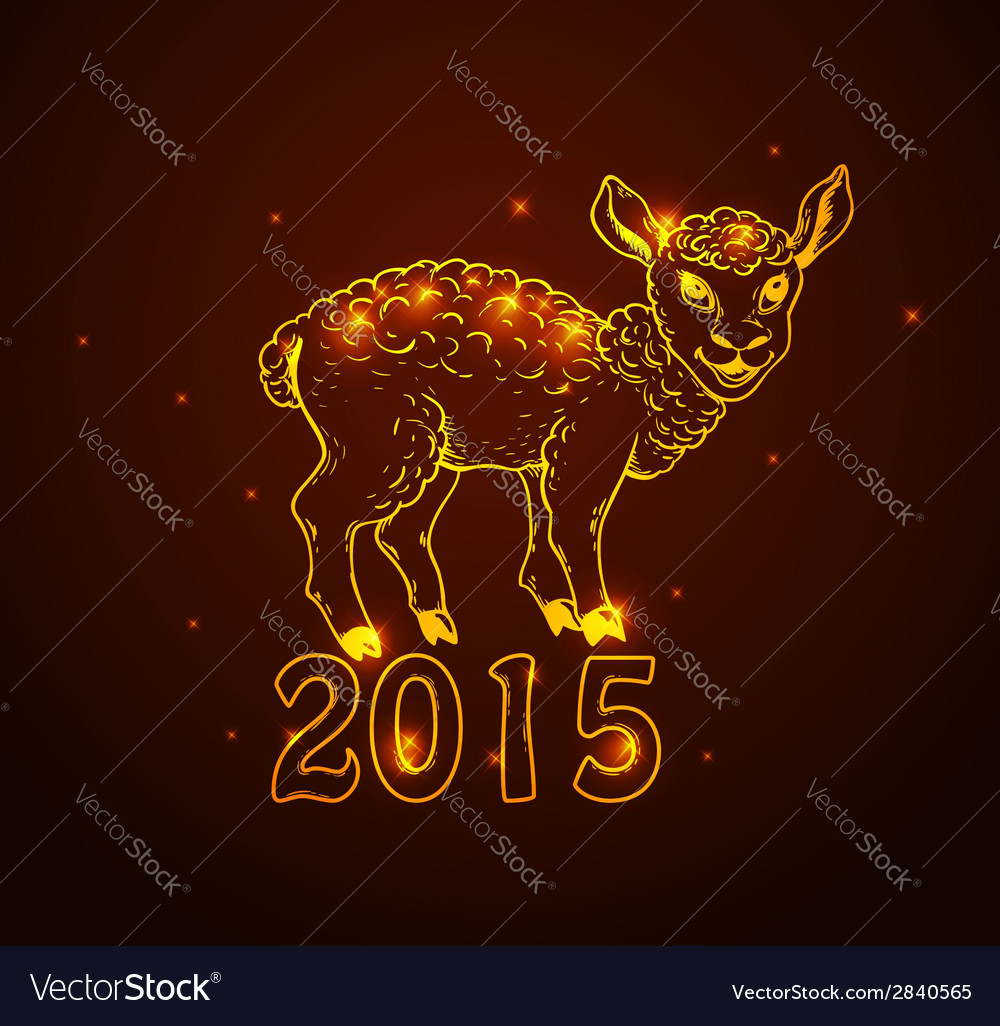 hand drawn new year card with sheep vector image