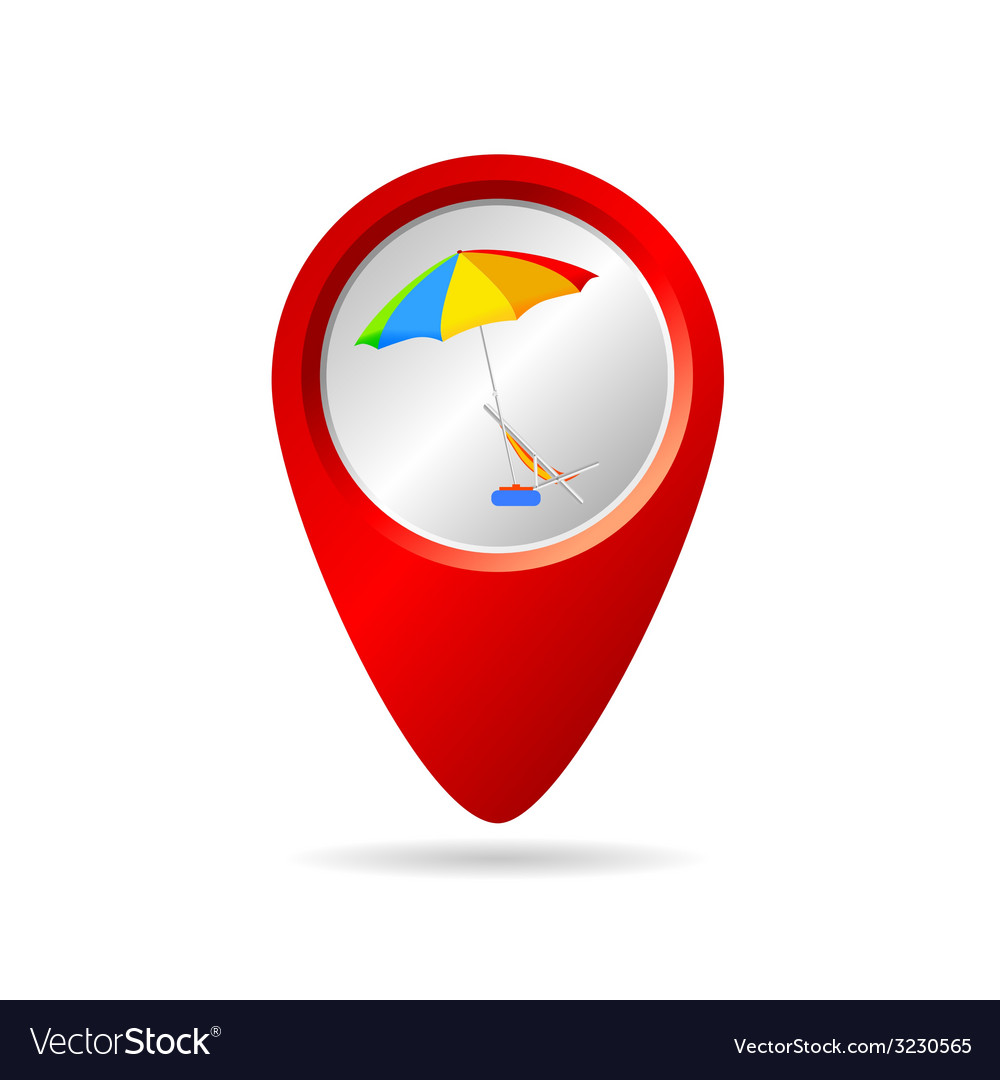 Map pionter with symbol for beach vector image