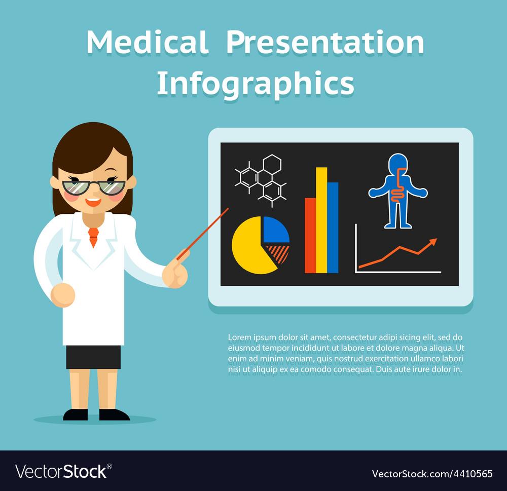 medical infographics presentation female doctor vector image