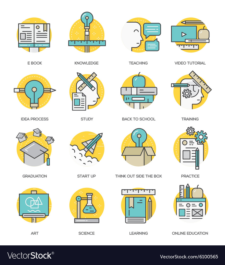 Modern flat line icon concept education