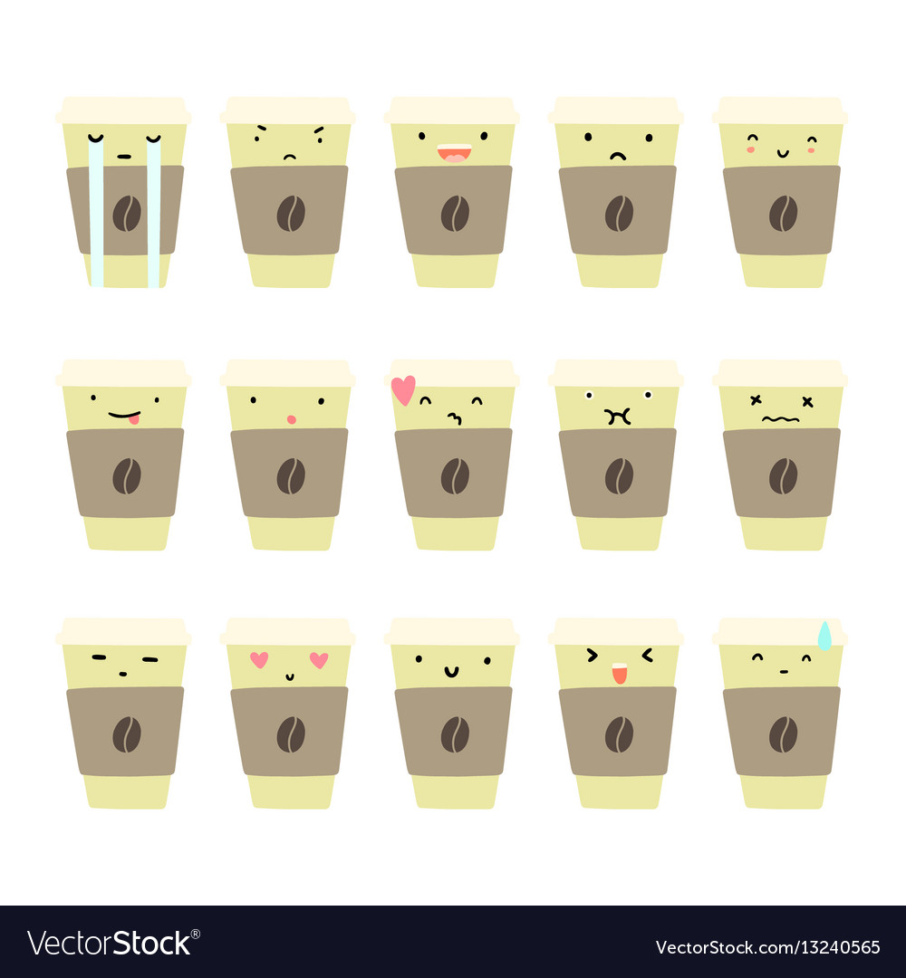Set of coffee cup emotions
