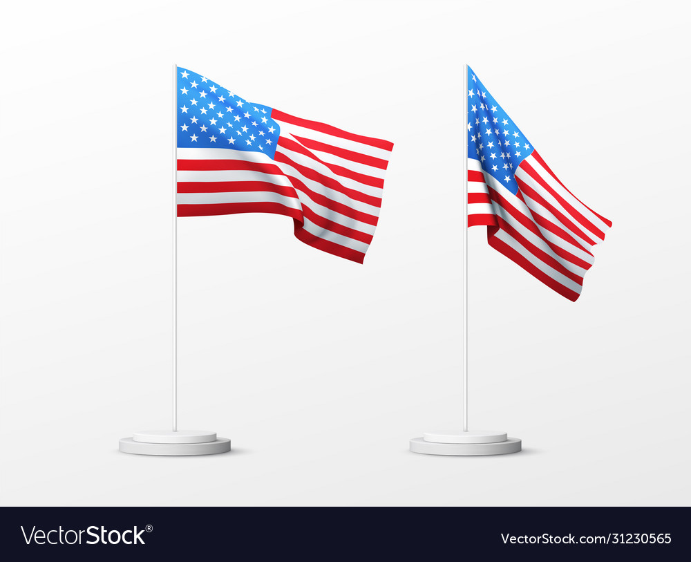 Set realistic american flag isolated on white