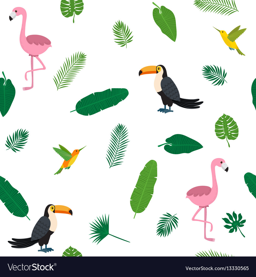 Tropical seamless pattern with pink flamingos