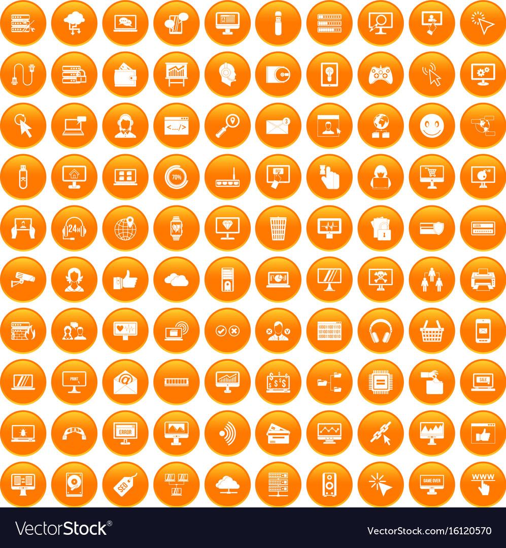 100 internet icons set orange vector image