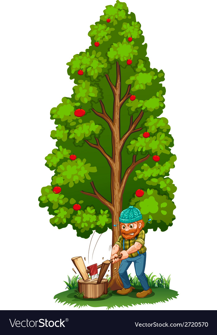 A Man Chopping Near The Fruit Bearing Tree Vector Image