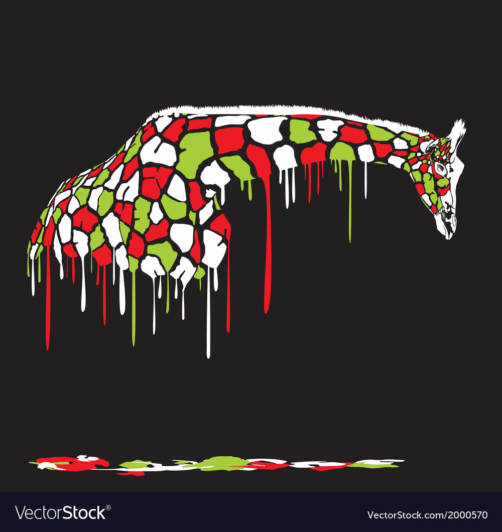 Abstract Giraffe Painting On A Black Background Vector Image