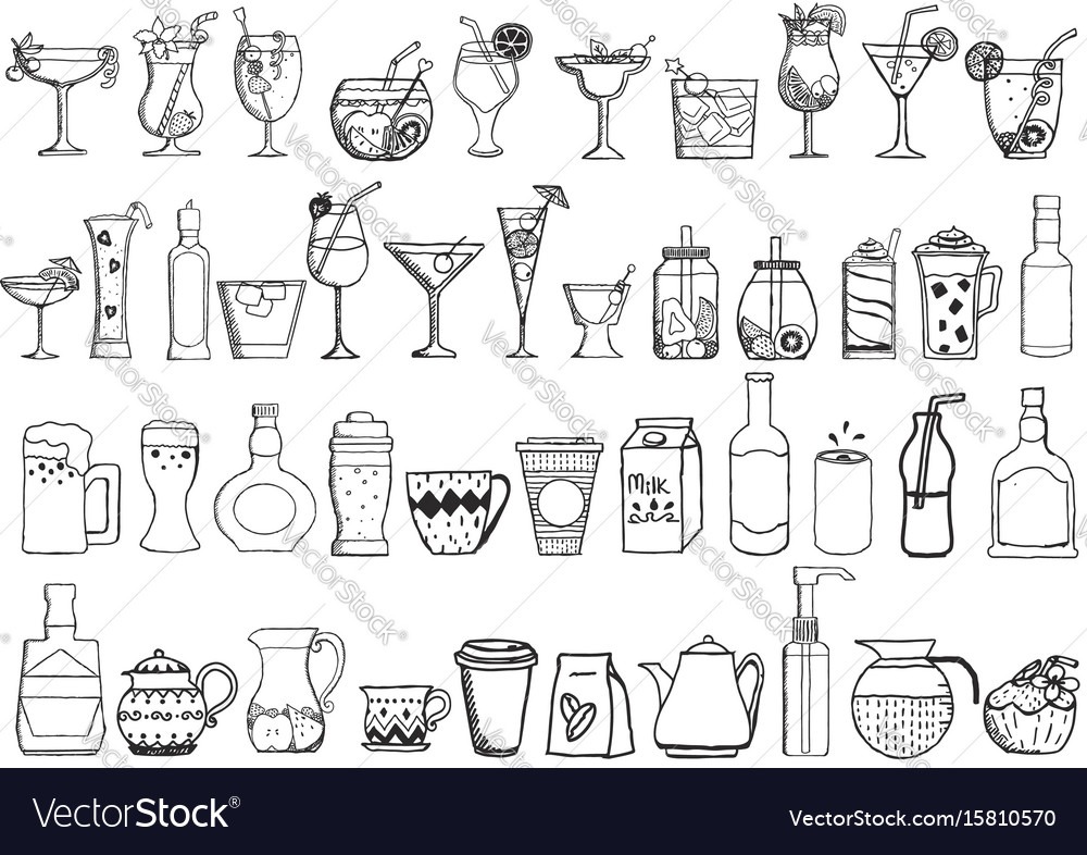Big set of hand drawn drinks on white background