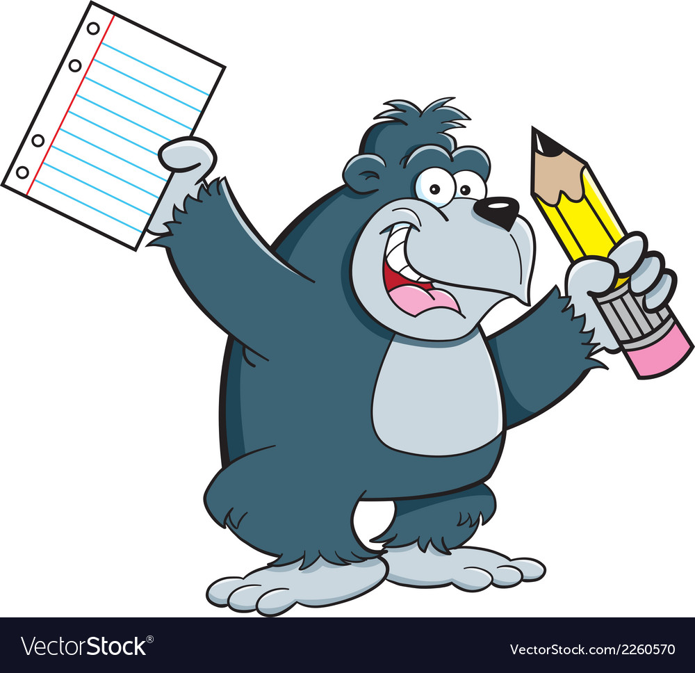Cartoon Gorilla Student