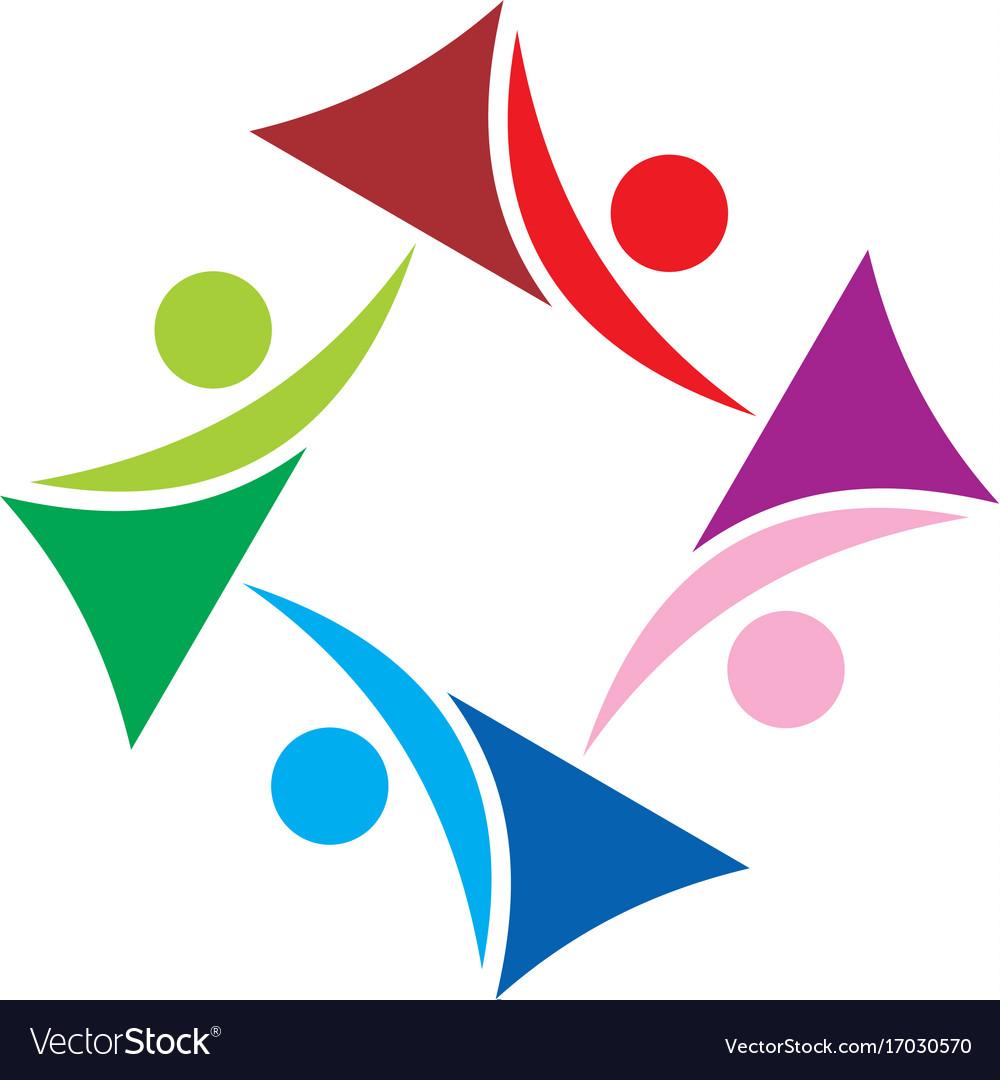 Circle abstract people group diversity logo