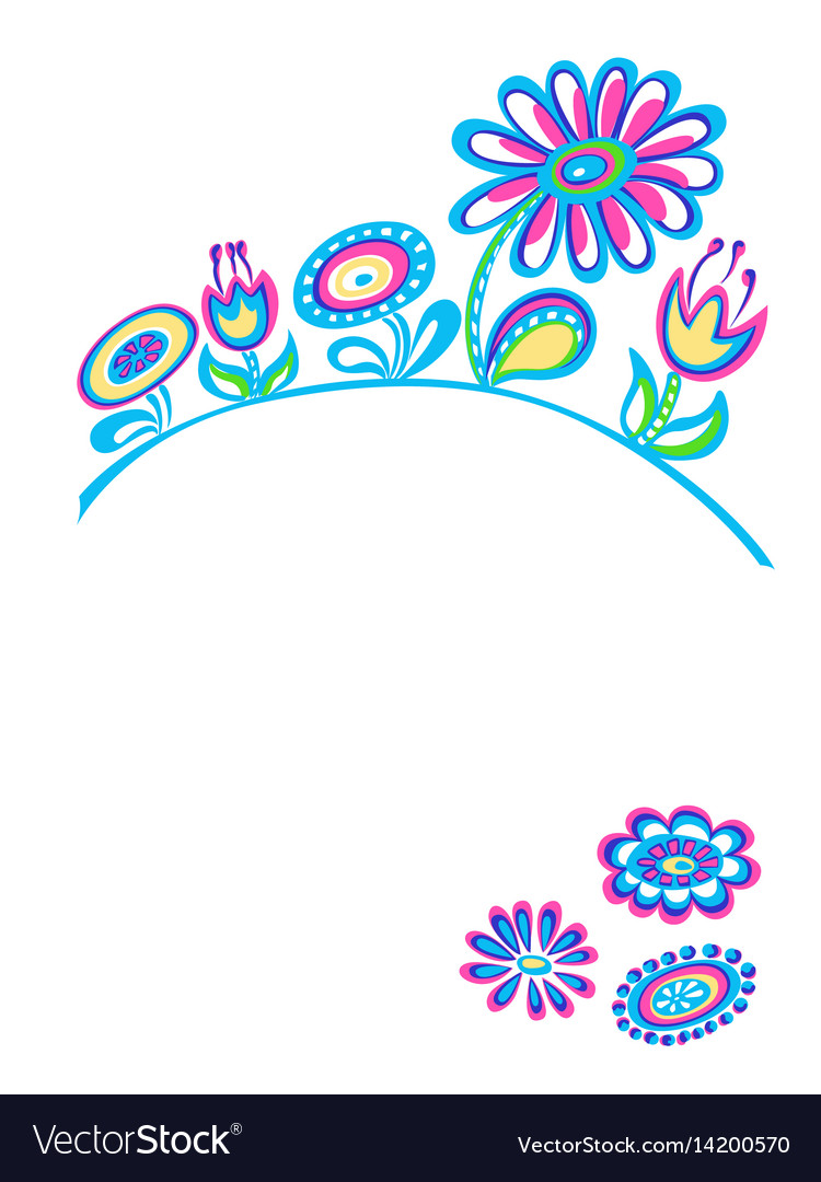 Drawing decorative flowers white background vector image