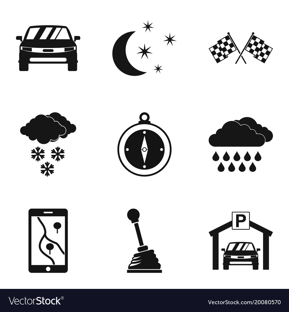 Drive icons set simple style