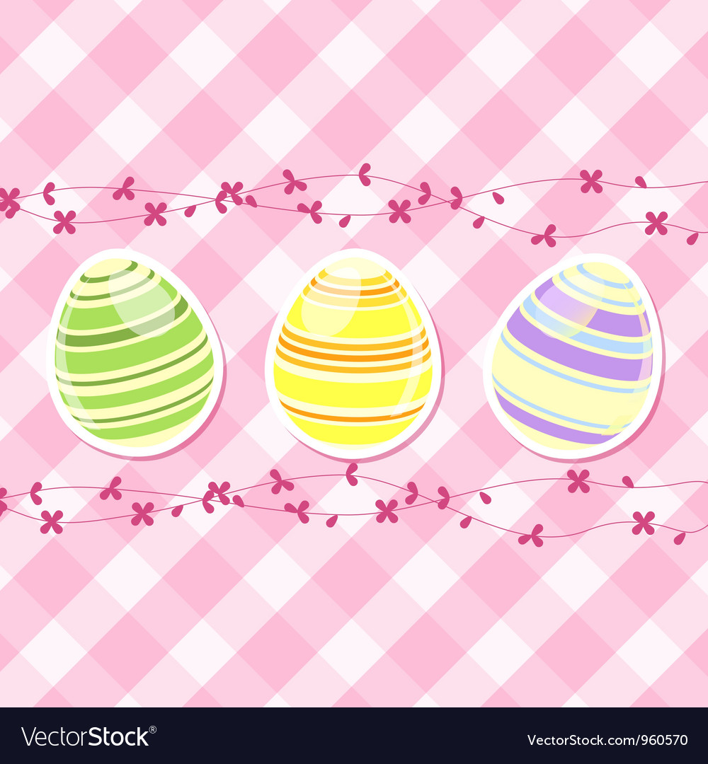 Easter egg and spring flowers on pink gingham vector image