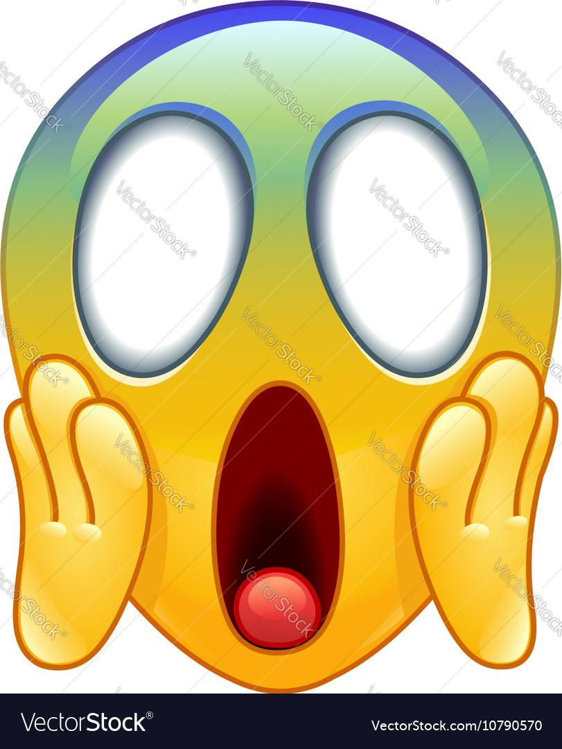 Face screaming in fear emoticon vector image
